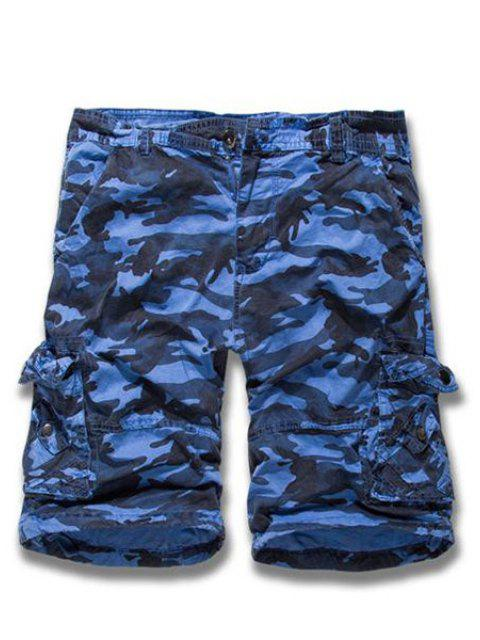 Camouflage Straight Leg Multi-Pocket Loose Fit Zipper Fly Cargo Shorts pour hommes - Bleu 31 Mobile