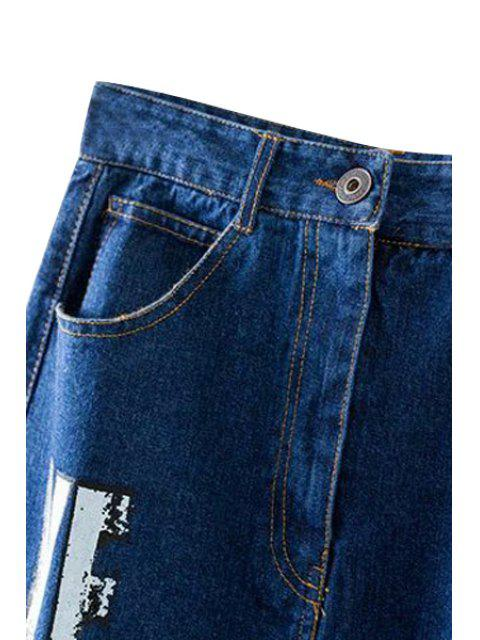 womens Letter Sequined Back Slit High Waist Denim Skirt - DEEP BLUE M Mobile