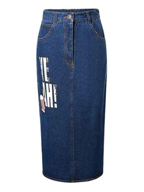 women Letter Sequined Back Slit High Waist Denim Skirt - DEEP BLUE L Mobile
