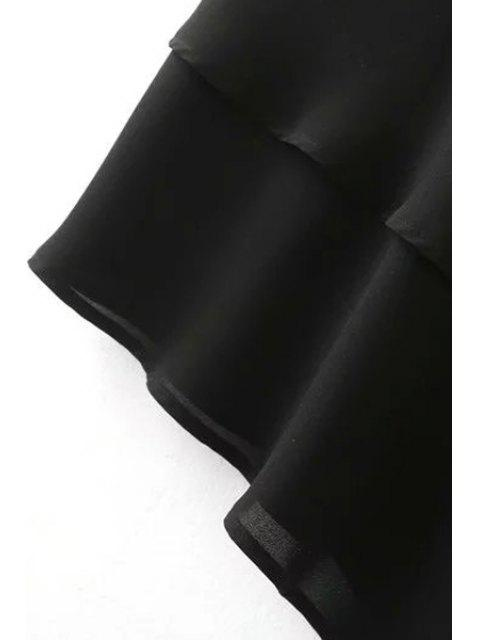 fancy Solid Color Irregular Hem High Waist Chiffon Skirt - BLACK L Mobile