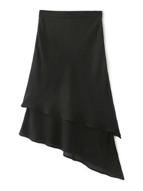 fancy Solid Color Irregular Hem High Waist Chiffon Skirt - BLACK L Mobile