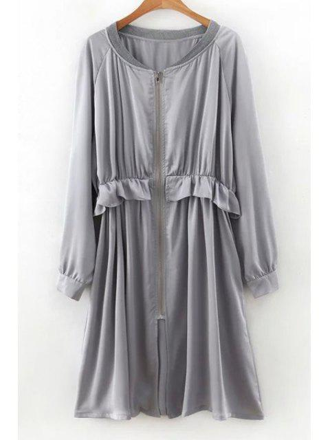 lady Flounced Zip-Up Long Sleeve Trench Coat - GRAY M Mobile