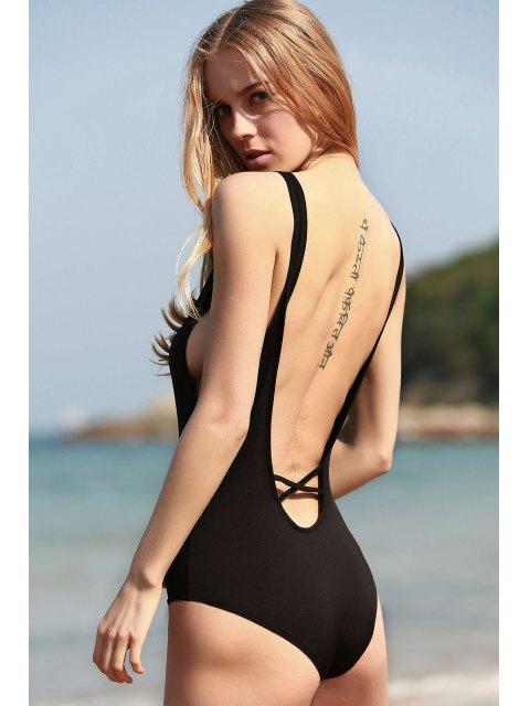 fancy Black Cut Out Plunging Neck One-Piece Swimwear - BLACK M Mobile