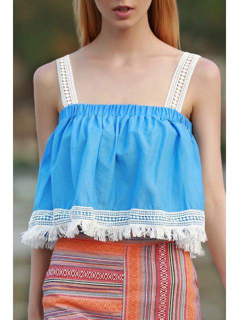 ladies Tassels Blue Sleeveless Crop Top - AZURE S Mobile
