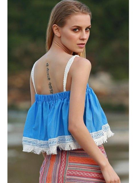 lady Tassels Blue Sleeveless Crop Top - AZURE M Mobile