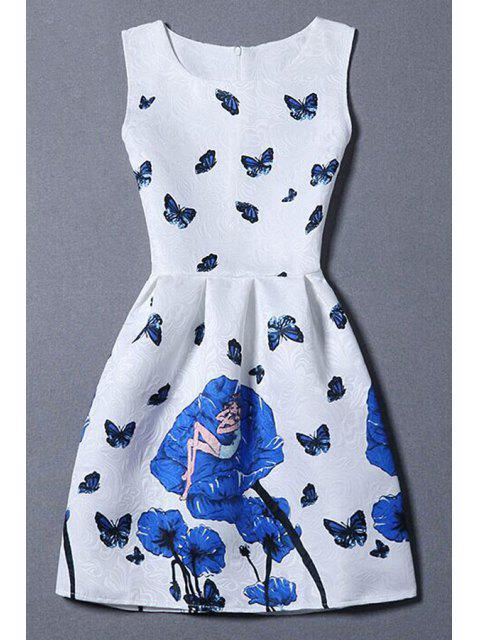 fashion Butterfly and Rose Print Sleeveless Dress - WHITE XL Mobile