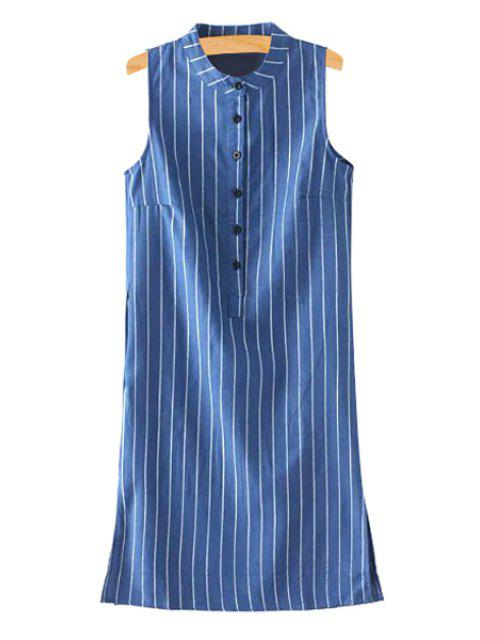lady Loose Striped Stand Neck Sleeveless Dress - BLUE S Mobile