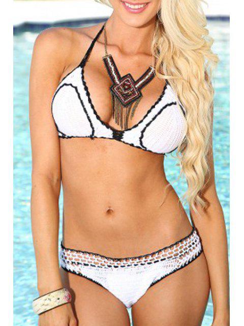 affordable Ruffles Halter Crochet Bikini Set - WHITE L Mobile