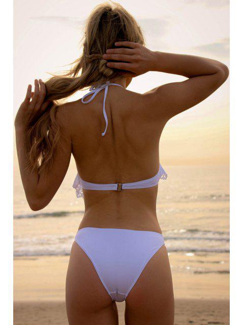 fancy Hollow White Halter One-Piece Swimwear - WHITE XL Mobile