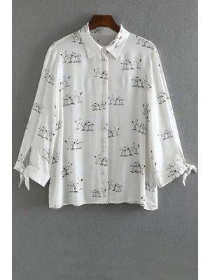 Swan Print Button Down Shirt - Branco S