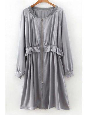 Flounced Zip-Up Long Sleeve Trench Coat - Gray M