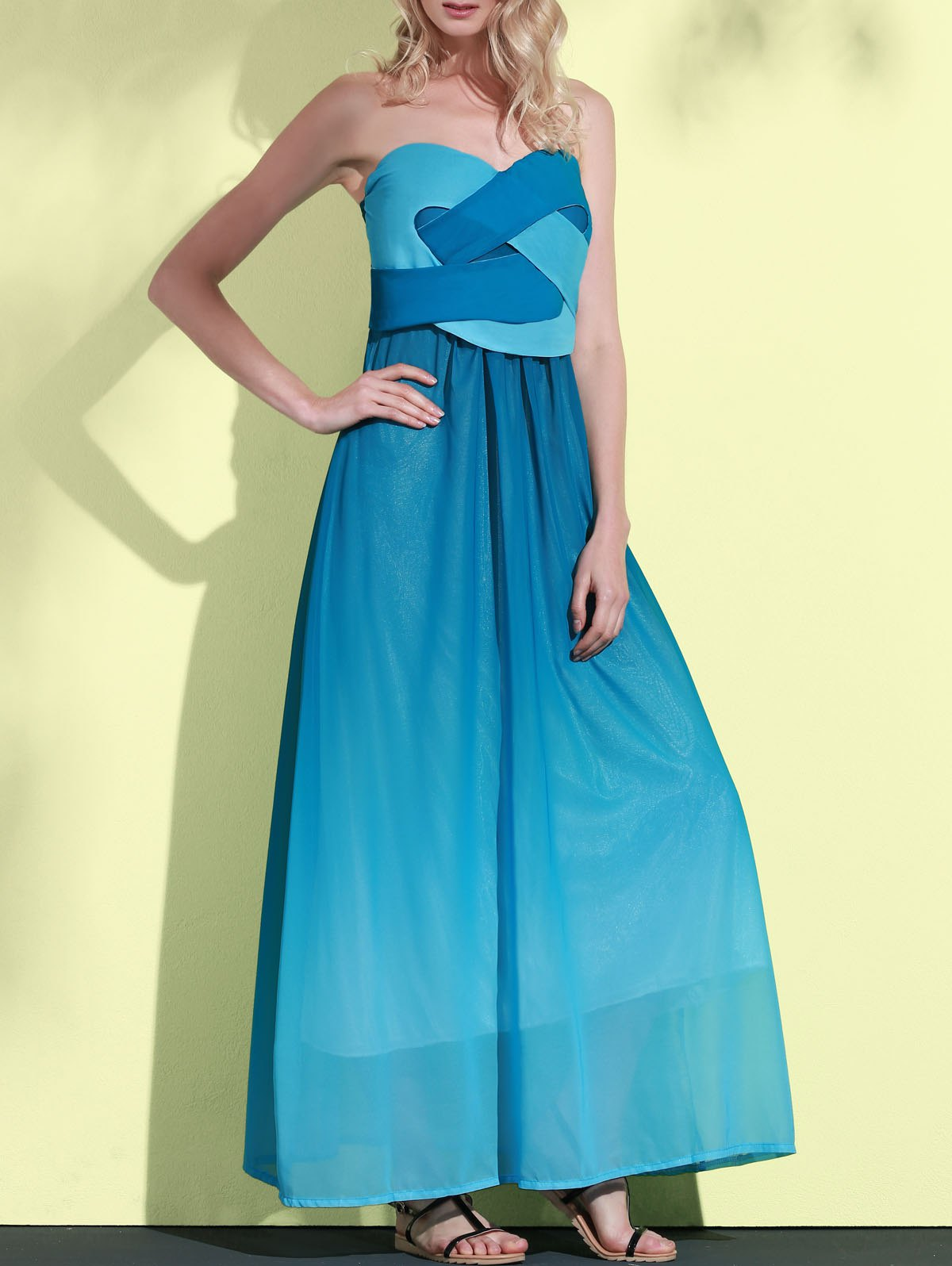 Ombre Color Sweetheart Neck Sleeveless Maxi Dress - LAKE BLUE XL