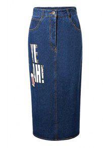 Buy Letter Sequined Back Slit High Waist Denim Skirt - DEEP BLUE M