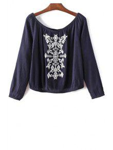 Off The Shoulder Retro Embroidery Long Sleeve Blouse - Purplish Blue S