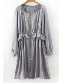 Flounced Zip-Up Long Sleeve Trench Coat - Gray L