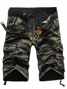 Style Militaire Jambe Droite Multi-Pocket Loose Fit Zipper Fly Camo Shorts Pour Hommes - Vert Armée 29