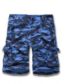 Camuflaje De La Pierna Recta Multi-bolsillo Con Cremallera Loose Fit Pantalones Cortos De Carga Para Los Hombres - Azul 31
