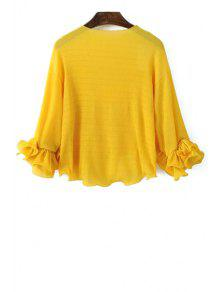 Solid Color Round Neck Puff Sleeve Blous - Yellow