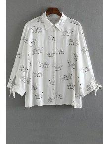 Swan Print Button Down Shirt - White S