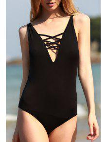 Black Cut Out Plunging Neck One-Piece Swimwear - Black M