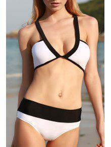 Color Block Cross Halter Bikini Set - White And Black L