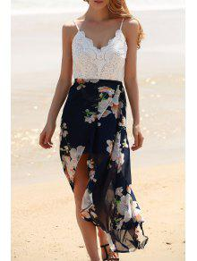Backless Spaghetti Straps Lace Spliced Dress - White M