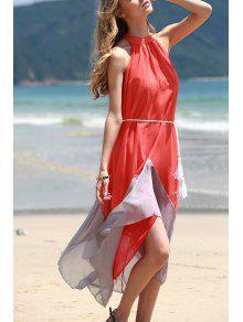 Mock Neck Sleeveless Color Block Maxi Dress - Orangepink S