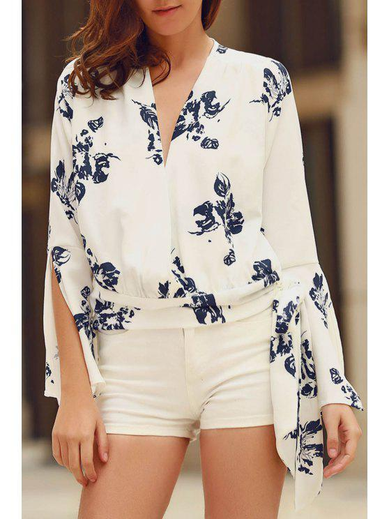 latest Abstract Print Plunging Neck Flare Sleeve Blouse - WHITE S
