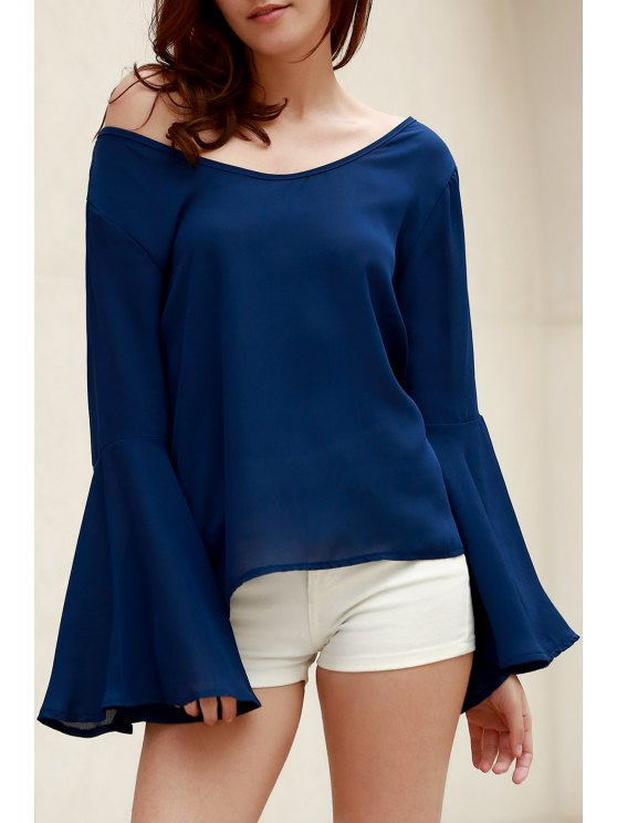 shop Blue Loose Scoop Collar Flare Sleeve Blouse - BLUE M