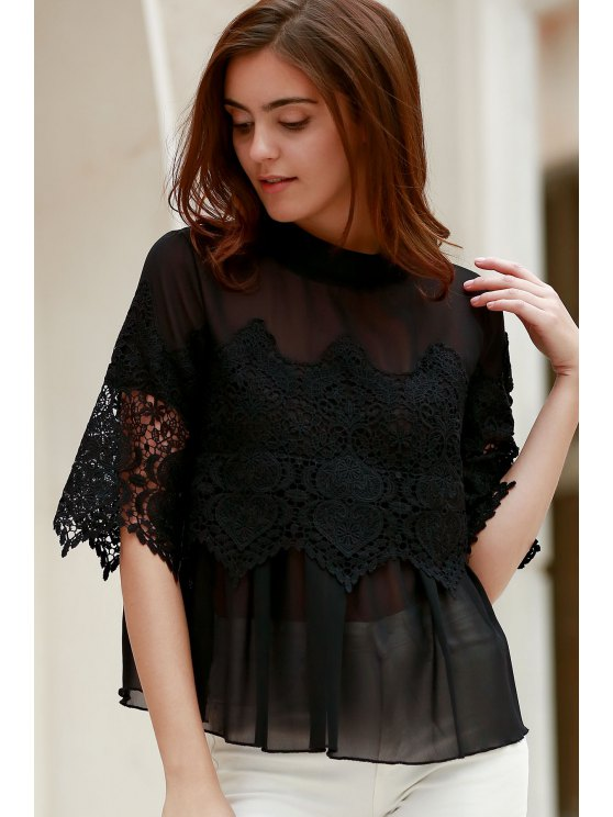 hot Lace Chiffon Splicing Round Neck 3/4 Sleeve Blouse - BLACK XL