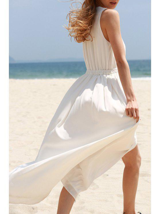 fashion White High Slit Plunging Neck Sleeveless Chiffon Dress - WHITE M