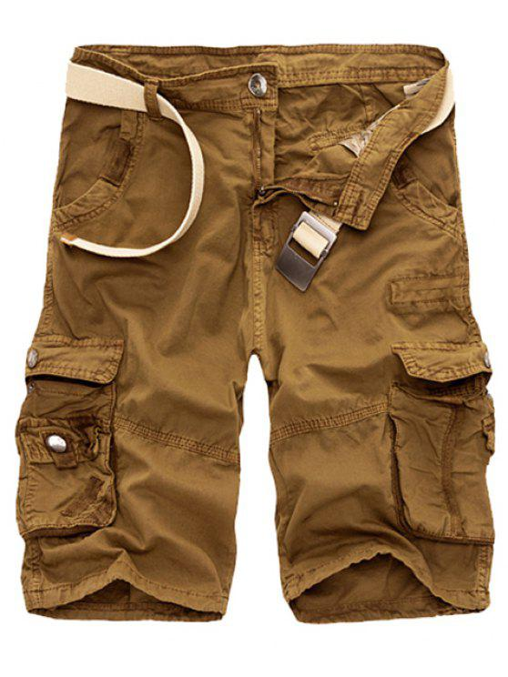fancy Solid Color Multi-Pocket Straight Leg Zipper Fly Loose Fit Cargo Shorts For Men - EARTHY 38