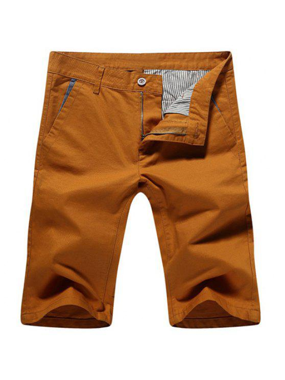 hot Casual Zip Fly Solid Color Shorts For Men - EARTHY 32