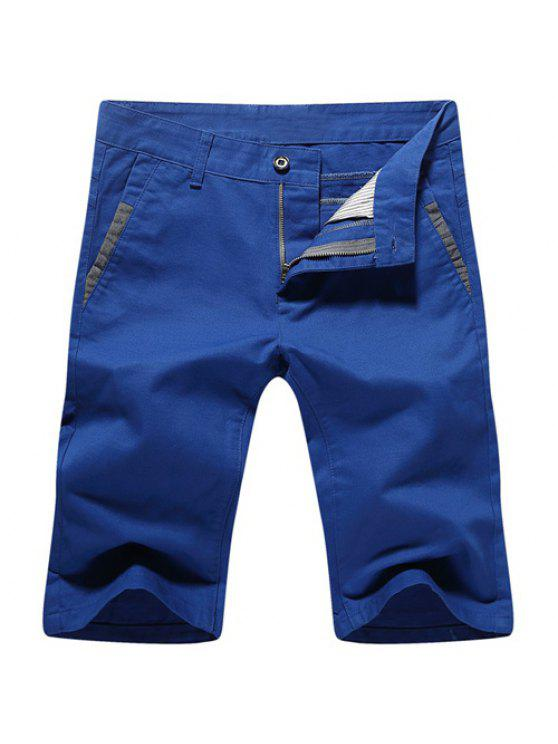 Casual Summer Zip Fly jambes droites Shorts pour hommes - Bleu 32