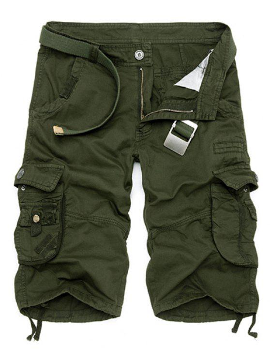 latest Solid Color Multi-Pocket Straight Leg Zipper Fly Loose Fit Cargo Shorts For Men - ARMY GREEN 38