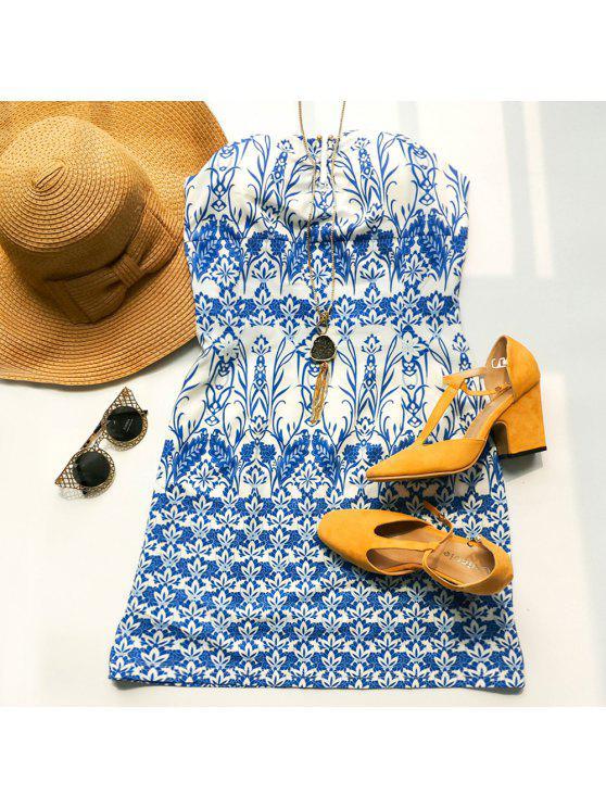 أنيقة حمالة أكمام الأزهار طباعة اللباس المرأة - أزرق XL