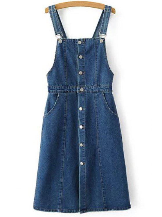 new Single-Breasted Denim Braces Skirt - BLUE S
