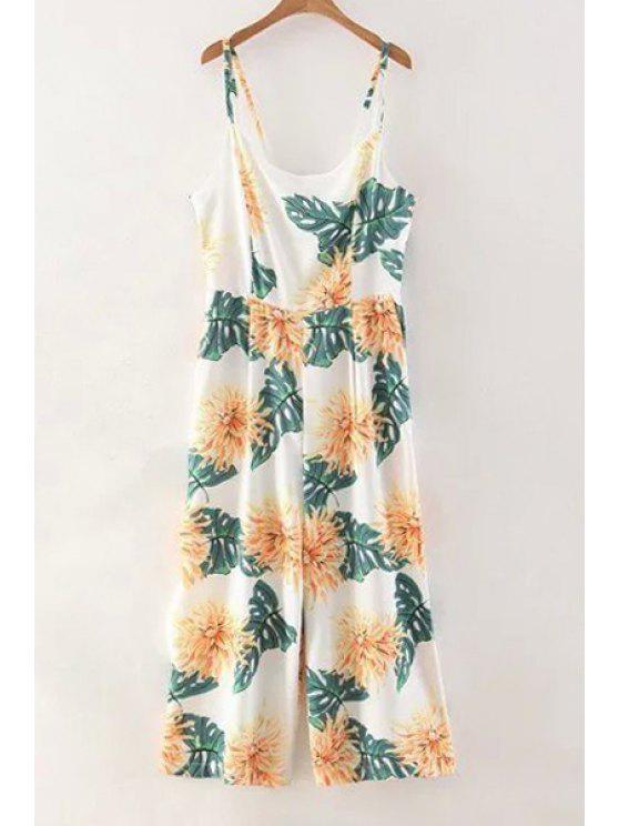 trendy Floral Print Cami Wide Leg Jumpsuit - COLORMIX M