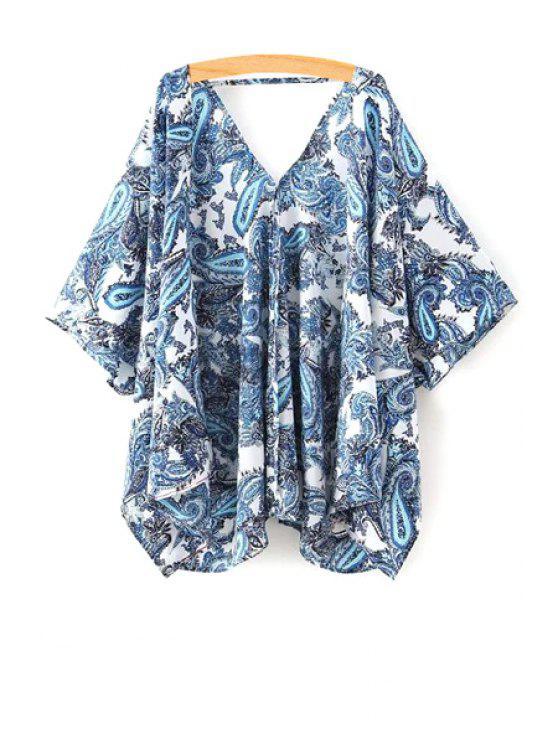 Paisley Imprimir meia manga quimono Blusa - Azul M