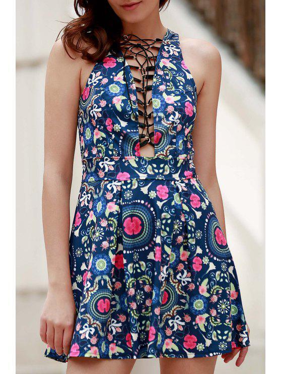 womens Flower Print Plunging Neck Sleeveless Dress - BLUE L