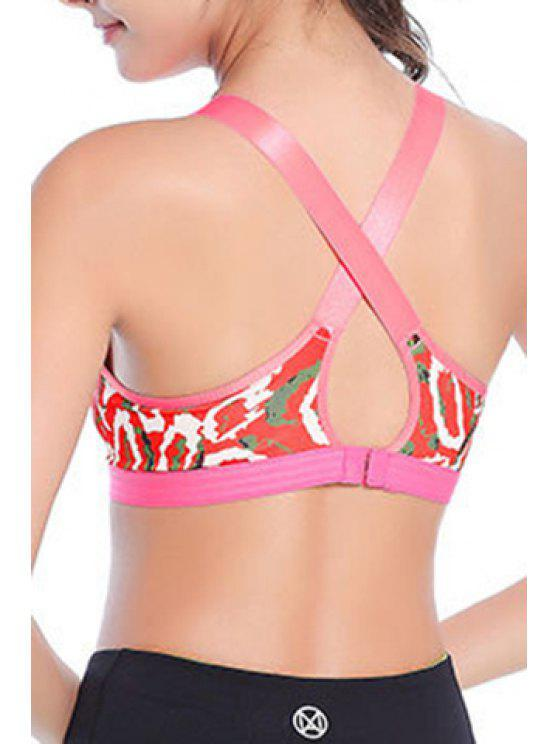 b78a00b3e7 33% OFF  2019 Stylish Strappy Print Cross Back Sport Bra For Women ...