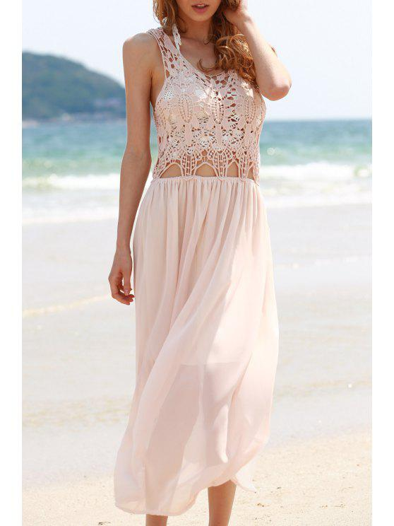 women's Lace Chiffon Spliced Sleeveless Maxi Dress - SHALLOW PINK M