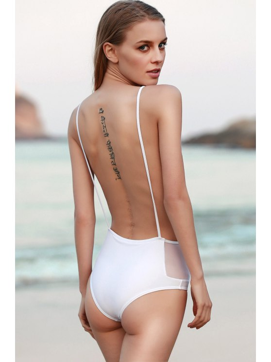 women Backless Spaghetti Straps One Piece Swimwear - WHITE L