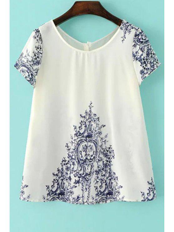 Vintage impresión con cuello redondo de manga corta de la camiseta - Blanco S
