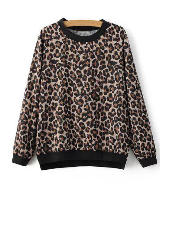women's Leopard Print Sweatshirt - LEOPARD M