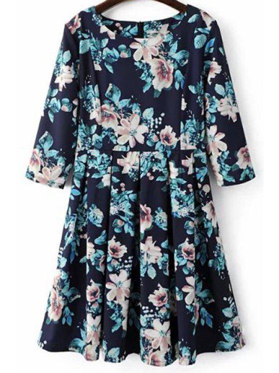 Beteau cuello de la impresión floral vestido de Midi - Azul S