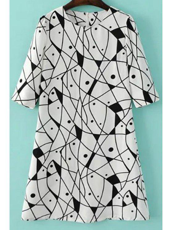 Vestido en A Línea con Estampado Abstracto - Blanco M