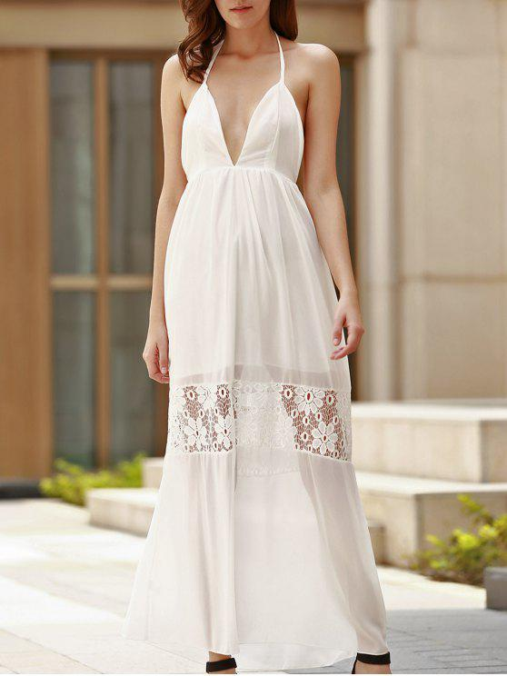e82e8cec98d1 29% OFF] 2019 Sexy Halter Plunging Neck Backless Maxi Dress For ...