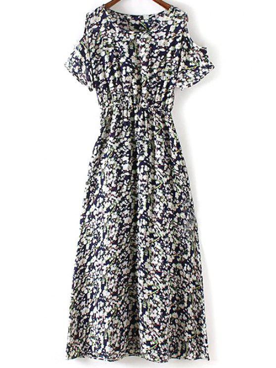 unique Tiny Flower Print Round Collar Cold Shoulder Dress - PURPLISH BLUE L