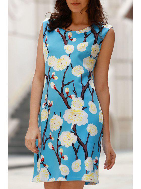Elegante Blumendruck-Rundhalsausschnitt ärmelloses Kleid - Blau XL
